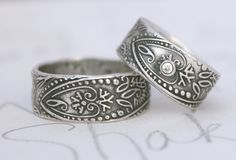 bohemian wedding band ring set with white sapphire . wide engraved paisley wedding rings mens womens . recycled silver by peaces of indigo.