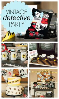 Vintage Detective Birthday Party Ideas - Pretty My Party #vintage #detective #birthday #party #boypartyideas #partyplanning #partyideas