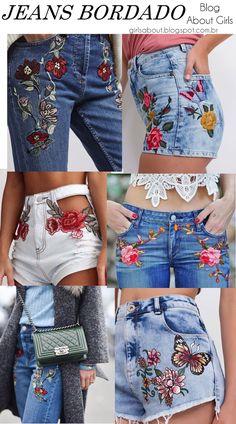 Shorts bordado e calça jeans bordada (com patches) esta na moda e é atendencia que vai bombar no verão 2018. Pinterest: @giovana Painted Jeans, Painted Clothes, Embellished Jeans, Embroidered Jeans, Denim Fashion, Fashion Outfits, Womens Fashion, Embroidery On Clothes, Jean Embroidery