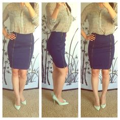 "Stretch Pencil skirt with front zips Super stretch pencil skirt with two zips in front. My stats: 5'6"", 120 lbs, 34c-25-35. XOXO Skirts Pencil"