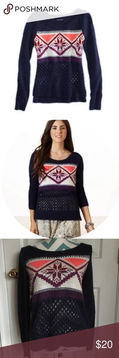 American Eagle Sweater Beautiful navy blue fair isle sweater from AE. 45% acrylic, 30% polyester, and 25% wool. Warm and soft. No flaws to note. American Eagle Outfitters Sweaters