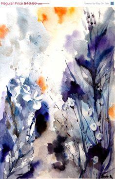 VACANZA vendita natura astratta acquerello arte di CanotStopPrints