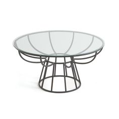 Stinson Coffee Table in Matte Dark Gray Black Finish Iron Frame with Round Glass Top