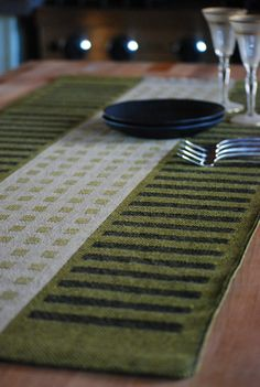 Handwoven Table Runner Squares & Stripes by HandwovenHome on Etsy