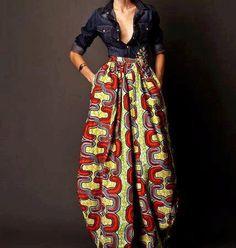 African Print Maxi Skirt + Denim Shirt - a super sexy combo