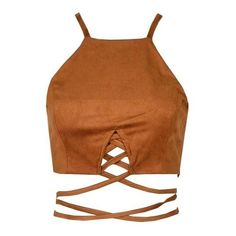 Ola Suede Cropped Top Brown (533.385 IDR) ❤ liked on Polyvore featuring tops, shirts, crop top, cutout tops, suede crop top, halter crop tops, tie crop top and brown halter top