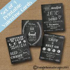 Chalkboard Valentines Scripture Bible Verse Christian Valentine Cards DIY PRINTABLE (SET of 4 Designs)