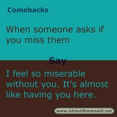 Use this comeback if someone asks if you miss them. Check out our top ten comeback lists.