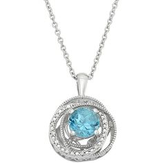 Simply Vera Vera Wang Blue Topaz & Diamond Accent Sterling Silver... ($70) ❤ liked on Polyvore featuring jewelry, necklaces, blue, blue necklace, pave pendant necklace, blue topaz pendant necklace, blue topaz pendant and filigree necklace