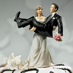 To Have & To Hold Bride Holding Groom Figurine Cake Top