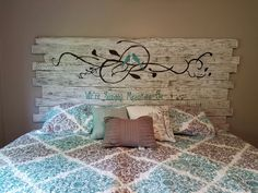 A headboard I made from pallets for our king size bed.
