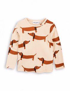 Mini Rodini Long Sleeve Baby Dog T-shirt Beige