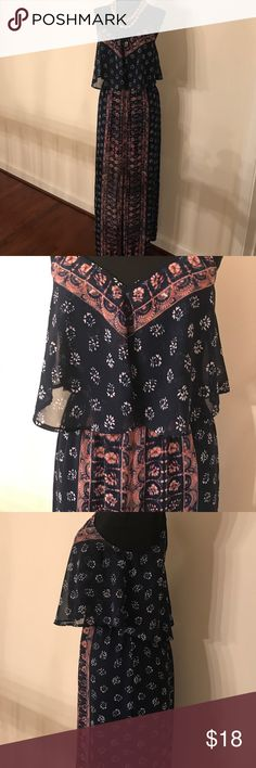 Boho Print Maxi Dress Great for a day date! High split in front. Light/airy material. Express Dresses Maxi