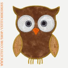 OWL set of applique machine embroidery designs by V-Stitch Designs. Instant download now available.  This AccuQuilt die is a JoAnn fabric store exclusive. There are 6 designs in this set.