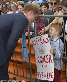 Prince Harry meets a boy with red hair,  just like him.