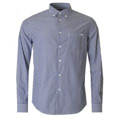 Armani Jeans Long Sleeved Stripe Button Down Shirt ($135) ❤ liked on Polyvore featuring men's fashion, men's clothing, men's shirts, men's casual shirts and navy