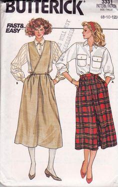 1980s Skirt Bib and Shirt Pattern Butterick 3331 Vintage Sewing Pattern Size 8 10 12 UNCUT Factory Folded