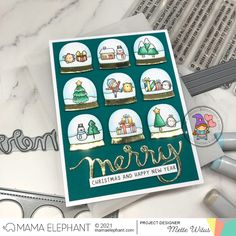 mama elephant | design blog: STAMP HIGHLIGHT: Easy Xmas Greetings Holiday Messages, Holiday Cards, Christmas Cards, Merry Christmas Greetings, Merry Christmas And Happy New Year, Mama Elephant Stamps, Girl Gnome, Snow Much Fun, Elephant Design