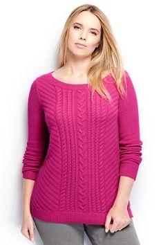 Women's Plus Size Open Balletneck Tunic Sweater