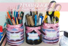 TitiCrafty: DIY Easy from a Jar to a cute Pencil Holder + Printable