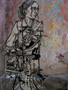 Linoleum block print, wheat pasted to multicolored wall, Havana, Cuba. 2003 Caledonia Curry / Swoon