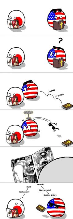 Countryballs USA and Japan love reading!