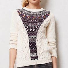 ANTHROPOLOGIE sweater ANTHROPOLOGIE sweater with sequined embellishment down front. Good condition. Reasonable offers are welcomed :) Anthropologie Sweaters Crew & Scoop Necks