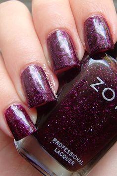 Swirly nail art, swirly nail stamping  Zoya Carly, Zoya Payton, Pueen Plate 65
