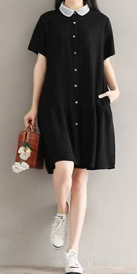 Women loose fit pocket dress short sleeve collar tunic summer casual large size