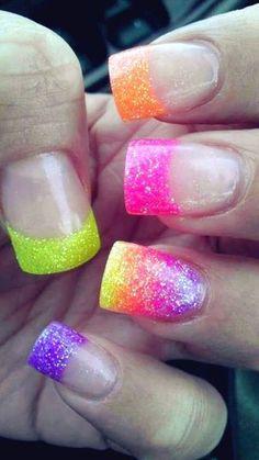 Colorful Glitter Nails fashion nail pretty nail art summer nails nail ideas nail designs manicures spring nails easter nails