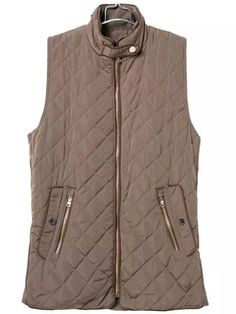 Brown Sleeveless Quilting Diamond Patterned Vest   , Register SHEIN to get a FREE GIFT!