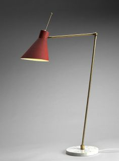Vittorio Vigano; Brass, Marble and Enameled Metal Table Lamp for Arteluce, 1952.
