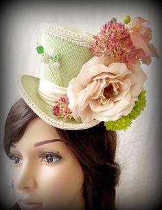 Pistachio Green Explosion Mini Top Hat, Alice in Wonderland Mini Top Hat, Bridal Fascinator, Tea Party Hat, Mad Hatter Hat on Etsy, $46.00