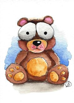ACEO Original watercolor painting Lucia Stewart whimsical baby animal Bear…