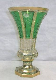 """Moser style Bohemian glass green cut to clear 9"""" vase, intaglio cut floral design, gilt overlay"""
