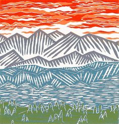 mountains,  by Boarding All Rows on Etsy... Reduction Linocut
