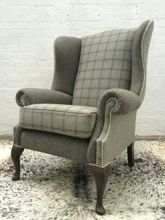 Grand Wing Chair in Abraham Moon wool MADE by DesignerWorkshopUK