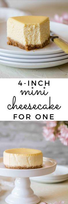 inch Mini Cheesecake recipe for one/two - - This cheesecake recipe is dense, rich and so creamy! Make this cheese cake for one or share it with your significant other for the perfect at home date night dessert! The Cheesecake Factory, Cheesecake For One Recipe, Original Cheesecake Recipe, Cheescake Recipe, Easy Cheesecake Recipes, Dessert Recipes, 4 Inch Cake Recipe, Mini Cheesecake Pan, Mini Desserts