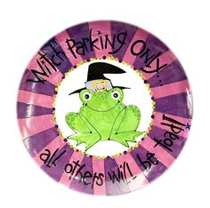 """""""Witch Parking Only!"""" ceramic Halloween platter."""