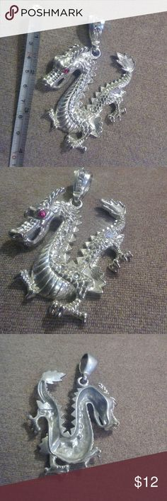 """Dragon Necklace Pendant red crystals men women Absolutely awesome silver plated dragon with red crystal eyes and silver crystals.....4"""" long, thick, heavy, ....quality piece. Back shows minor wear (camera can't see)..... compliments guaranteed ...*........* Buy 2 orders together from my store & get 20% OFF the total!!! PLUS you pay SHIPPING for only ONE of the orders (no matter the amount of orders bundled together.)* ... silver plated Jewelry Necklaces"""