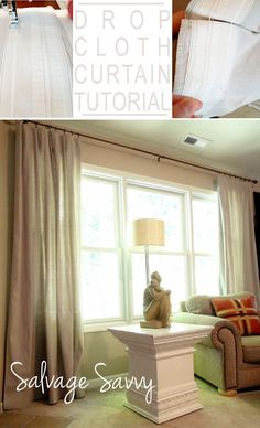 Beautiful Drop Cloth Curtains Tutorial, including cheater way to make pleats. Love that the pleats make them look finished! Drop Cloth Curtains, Velvet Curtains, Lace Curtains, Valance, Short Curtains, Patterned Curtains, Yellow Curtains, Ikea Curtains, Nursery Curtains