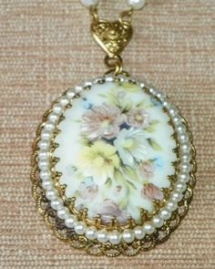 Vintage West Germany Floral decorated Glass Oval Pearl border Statement Necklace #na #Pendant