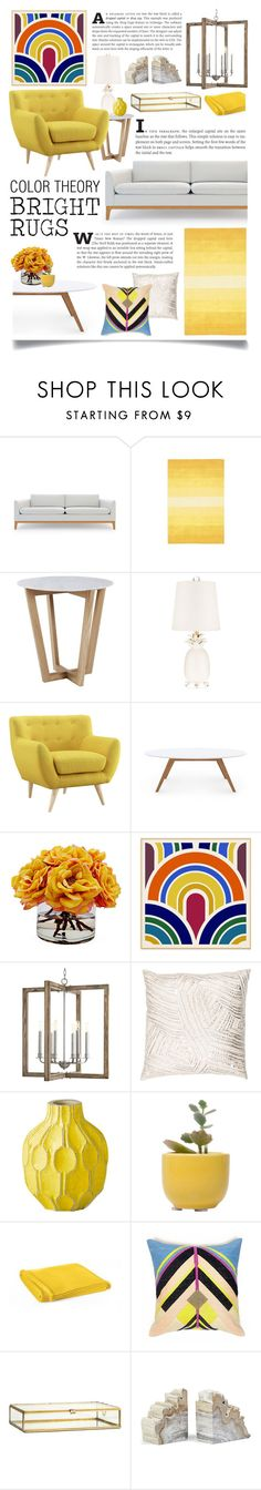 """""""Color Theory: Bright Rugs"""" by ittie-kittie ❤ liked on Polyvore featuring interior, interiors, interior design, home, home decor, interior decorating, Rove Concepts, St. Croix, Wendover Art Group and Progress Lighting"""