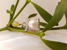 witgouden ring met diamanten en parel #pearlring #18kgold