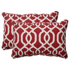 This product is sold in sets of 2.Set of two geometric-print indoor/outdoor pillows with recycled fills. Made in the USA.        Product: Set of 2 pillowsConstruction Material: Polyester cover and recycled virgin polyester fiber fillColor: Red and whiteFeatures:   Withstands UV rays and resists mold, mildew, moisture and stainsSuitable for indoor or outdoor useInserts included