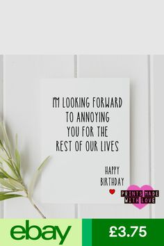 Cards & Stationery Home, Furniture & DIY Birthday Cards For Boyfriend, Index Cards, Husband Wife, Letter Board, Birthday Ideas, Love Quotes, Stationery, Arts And Crafts, Diy