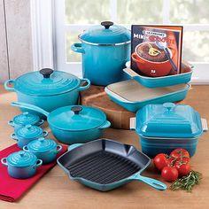 NEW CARIBBEAN BLUE!  Le Creuset 20 PC BLUE Cookware Set Enameled Cast Iron