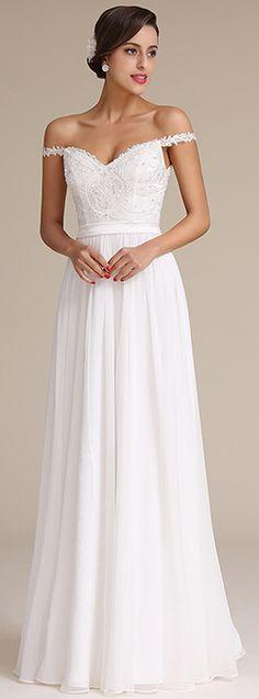 Elegant off shoulder bridal dress!
