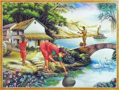 Drawing People Daily Chores of Village People (Reprint on Paper - Unframed) - Daily Chores of Village People (Reprint on Paper - Unframed) Village Scene Drawing, Art Village, Indian Village, Indian Art Paintings, Nature Paintings, Cool Paintings, Landscape Paintings, Scenary Paintings, India Poster