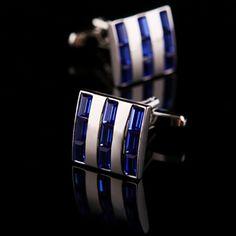 Blue Crystal Striped Cufflinks